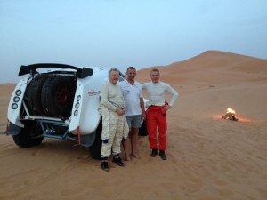 Jim and Sir Chris with Chris Leyds of McRae Enduro Sport in the Moroccan desert.