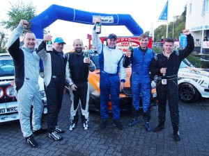 Last year's top three crews, from left to right: Clive Molyneux and John Cope, Iain and Calum Duffy, Tristan Pye and Andrew Falconer.